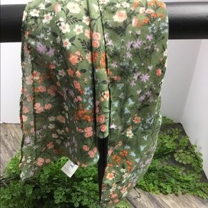 Olive green and floral fashion scarf